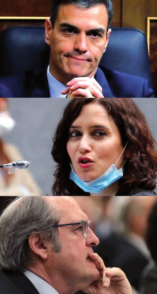 Pedro Sanchez, Isabel Ayuso, Ángel Gabilondo