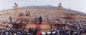 Evanghelizarea din Seoul, Korea de Sud in 1973 la care au participat circa 3 milioane de persoane.