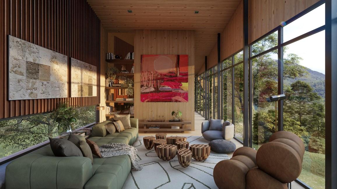 ESTAR – Assinado por Maurício Magarão Arquitetura, o espaço se inspira no perfil sustentável e no instinto livre do casal. Com 52 m², preza pela amplitude, incorporando amplas janelas e um décor cheio de personalidade. Foto: VRound