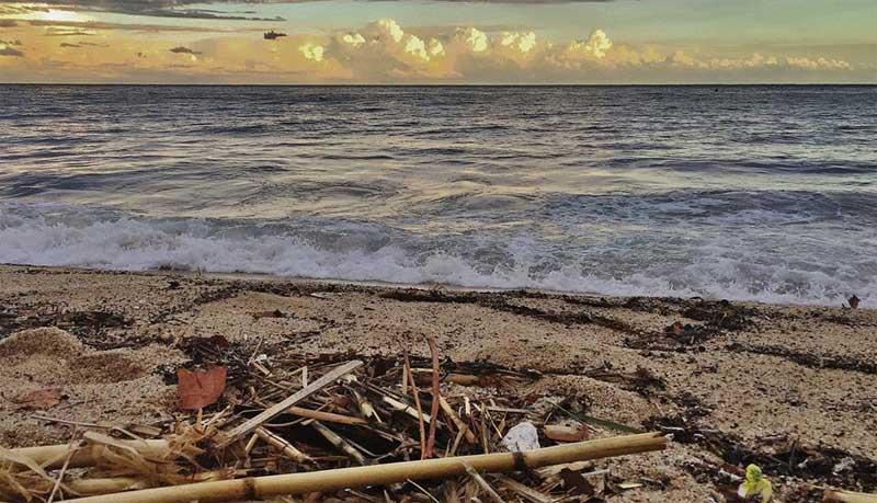Aspecto de una de las playas con restos de suciedad provocados por las tormentas