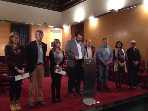 Foto de los firmantes de la declaración institucional en favor del Hospital de Mataró