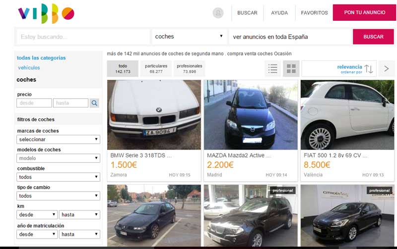 Una web especializada en la venta de coches