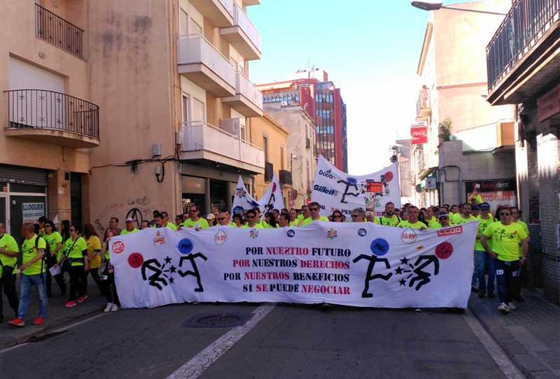 Un momento de la manifestación de los trabajadores de Procter&Gamble