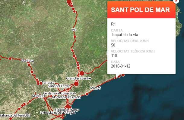 Fragmento del mapa de puntos negros difundido por TV3