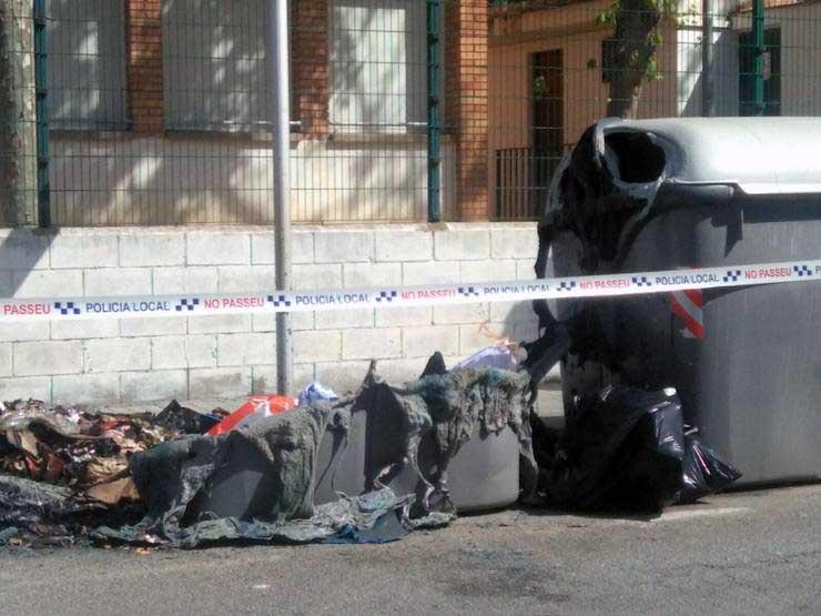 Estado de algunos de los contenedores afectados. Foto: Ajt de Premià de Mar