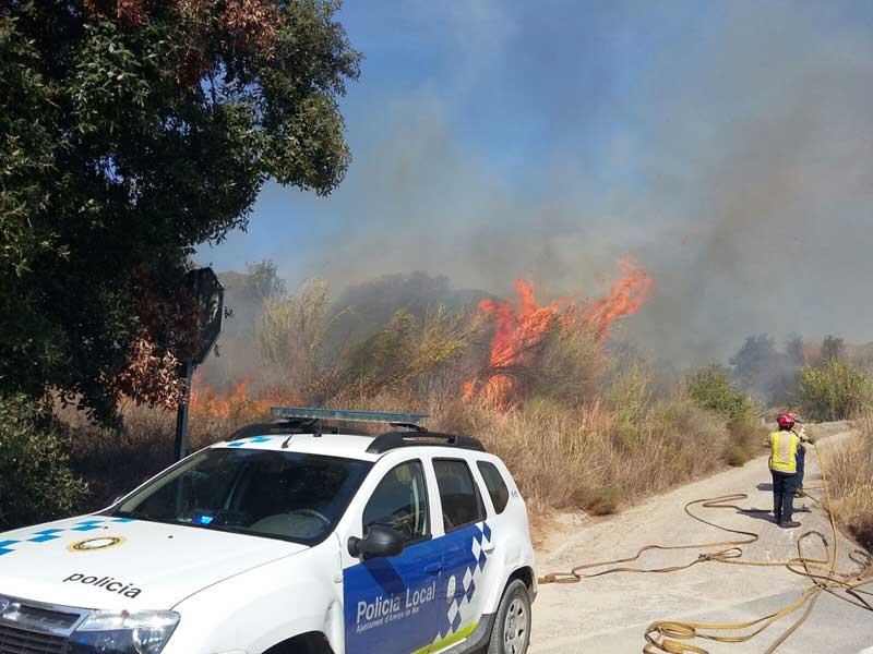 Un incendio en Arenys de Mar que afecto este verano unos 3000 metros cuadrados de vegetación. Foto: Ajt d'Arenys de Mar