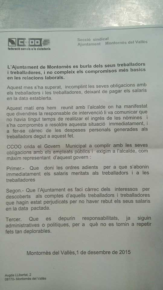 La carta de la sección sindical