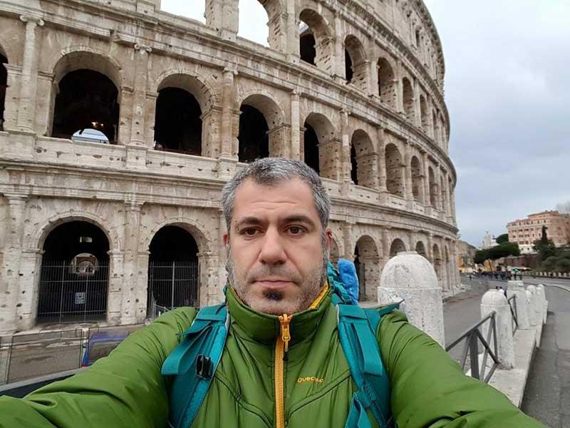 Albert Palacio, el pasado jueves día 3, junto al Coliseo de Roma