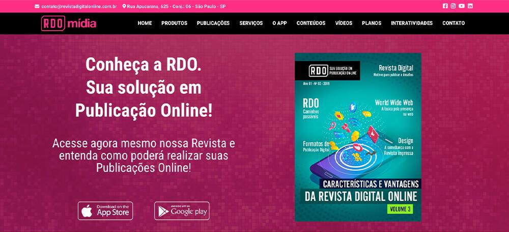 Desenho do site da RDO Mídia
