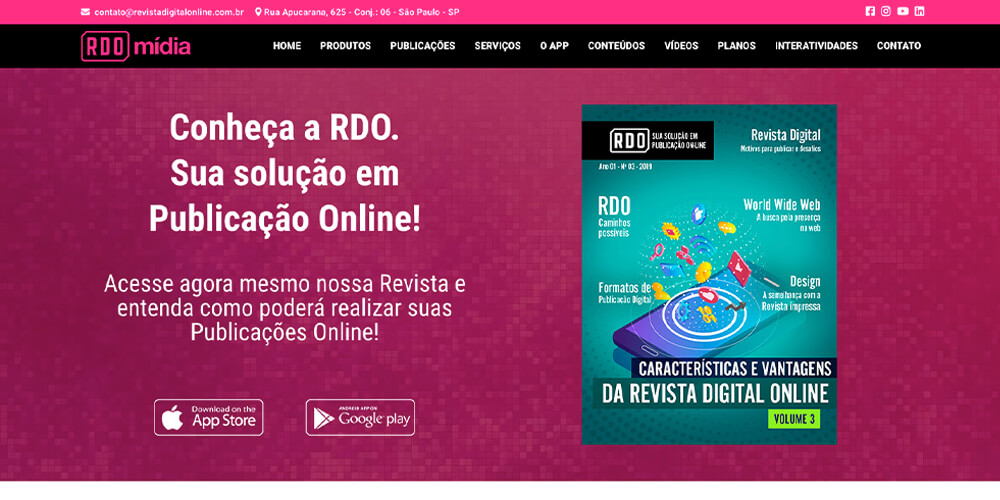 Revista Digital On-line: Desenho da tela do site da RDO Mídia