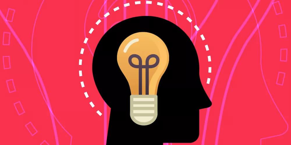Revista Digital On-line: Desenho de cabeça de homem de perfil com uma lâmpada mostrando uma ideia