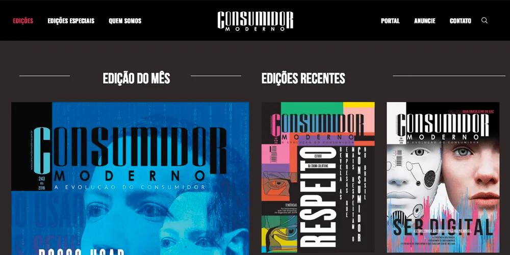 Revista Digital On-line: Parte do site da Revista Consumidor Moderno