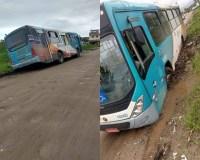 SP: ônibus acaba atolado em Bertioga