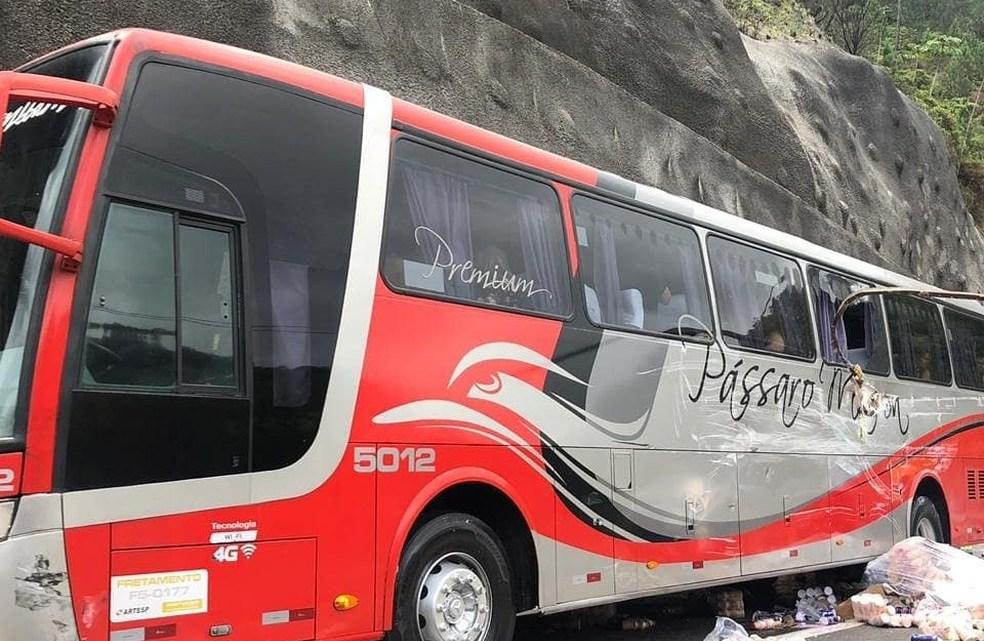 SP: Acidente com ônibus da Pássaro Marrom e carreta deixa um ferido na Tamoios