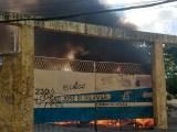 Fortaleza: Incêndio em garagem de ônibus chama atenção