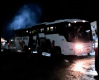 BA: Ônibus da Falcão real pega fogo em Jacobina