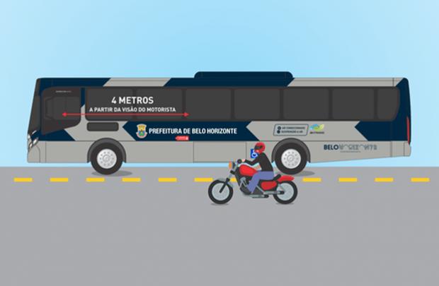 Prefeitura de BH lança adesivos em ônibus com alerta para proteção de ciclistas e motociclistas