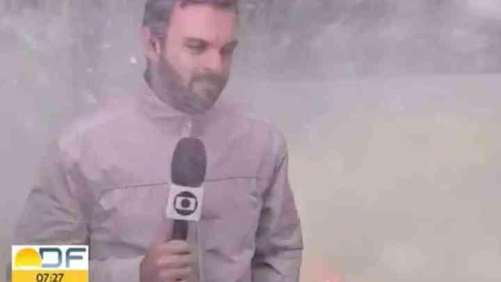DF: Ônibus acaba dando banho em repórter da TV Globo nesta sexta-feira