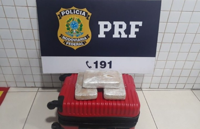 PRF prende jovem com 3kg de entorpecente durante fiscalização na BR-153