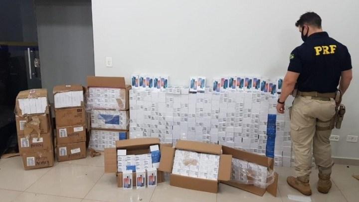 MS: PRF apreende 640 celulares em fiscalização na BR-060 em Guia Lopes da Laguna