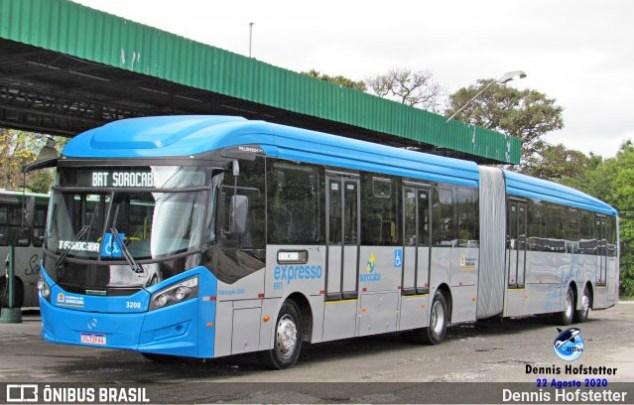 SP: Ônibus do BRT fica preso em cruzamento do Centro de Sorocaba nesta manhã
