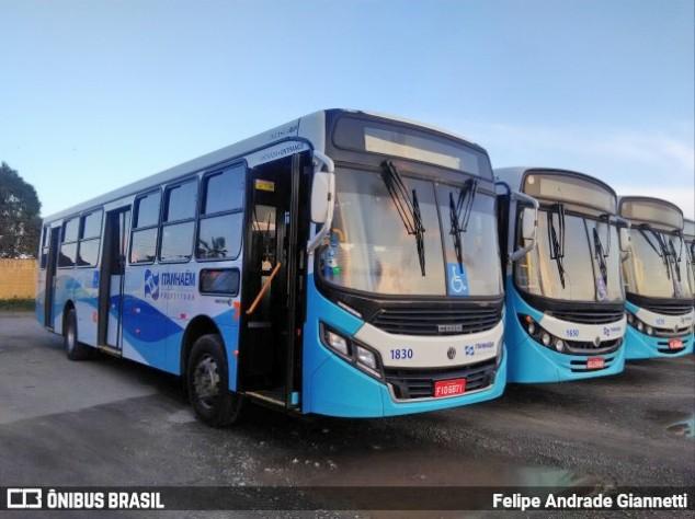 Ônibus da Viação Litoral Sul seguem parados em Itanhaém no litoral de São Paulo, pelo segundo dia consecutivo