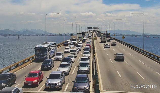 Rio: Ponte segue com fluxo bom no sentido Rio, no início desta tarde de terça-feira