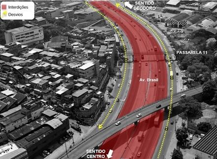 Rio: Avenida Brasil terá interdições no fim de semana para instalação de passarela em Ramos