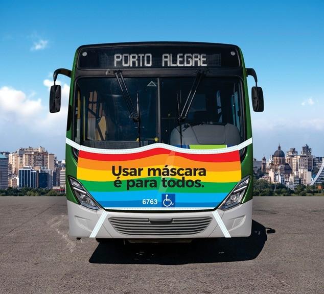 Porto Alegre: Ônibus usam diferentes máscaras para promover a conscientização