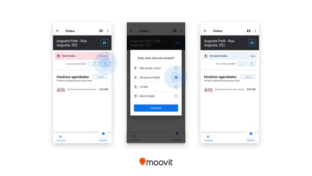 Moovit passa a informar a lotação de pontos e de veículos em tempo real - revistadoonibus