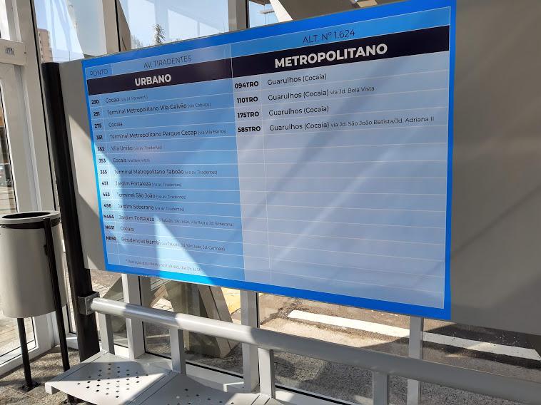 SP: Guarulhos inaugura ponto de ônibus com ar-condicionado na Avenida Tiradentes