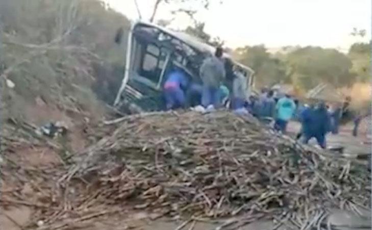 Vídeo: Acidente entre caminhão e ônibus deixa 37 feridos na GO-222 em Adelândia