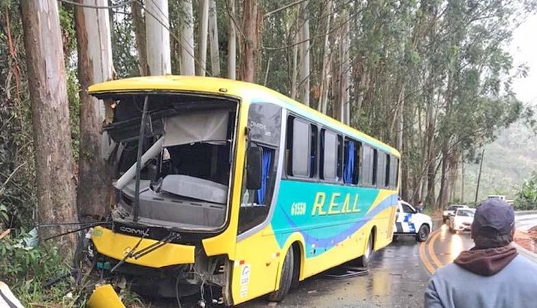 ES: Acidente com ônibus da Real Ita deixa três feridos na Região Serrana do Espírito Santo