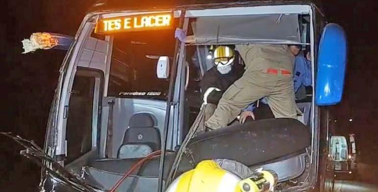 MT: Ônibus da Viação Juína bate na traseira de caminhão na BR-174 com 30 passageiros a bordo