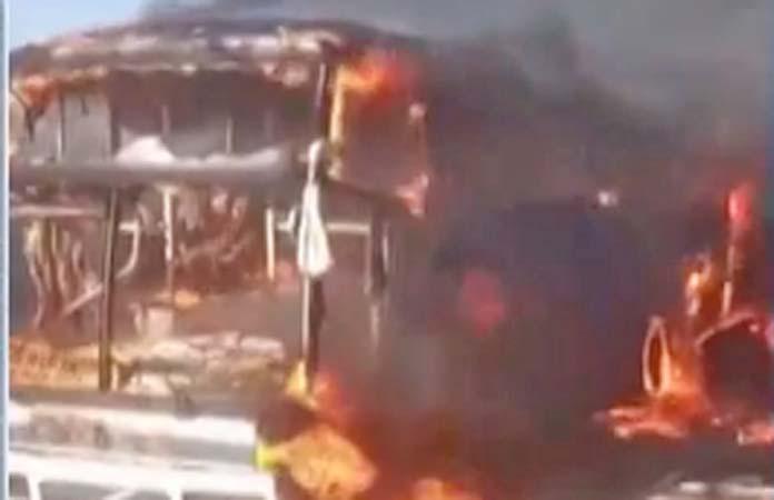 MG: Ônibus rodoviário é incendiado em Uberaba nesta segunda-feira