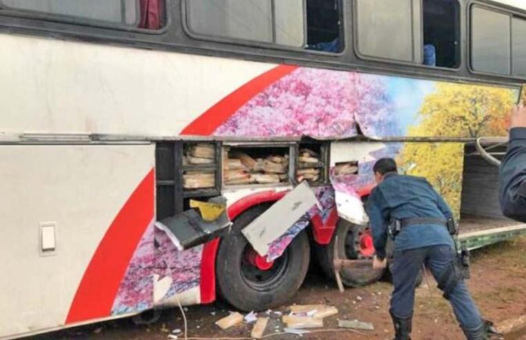 Vídeo: PM apreende farto material entorpecente em ônibus na cidade de Juti/MS