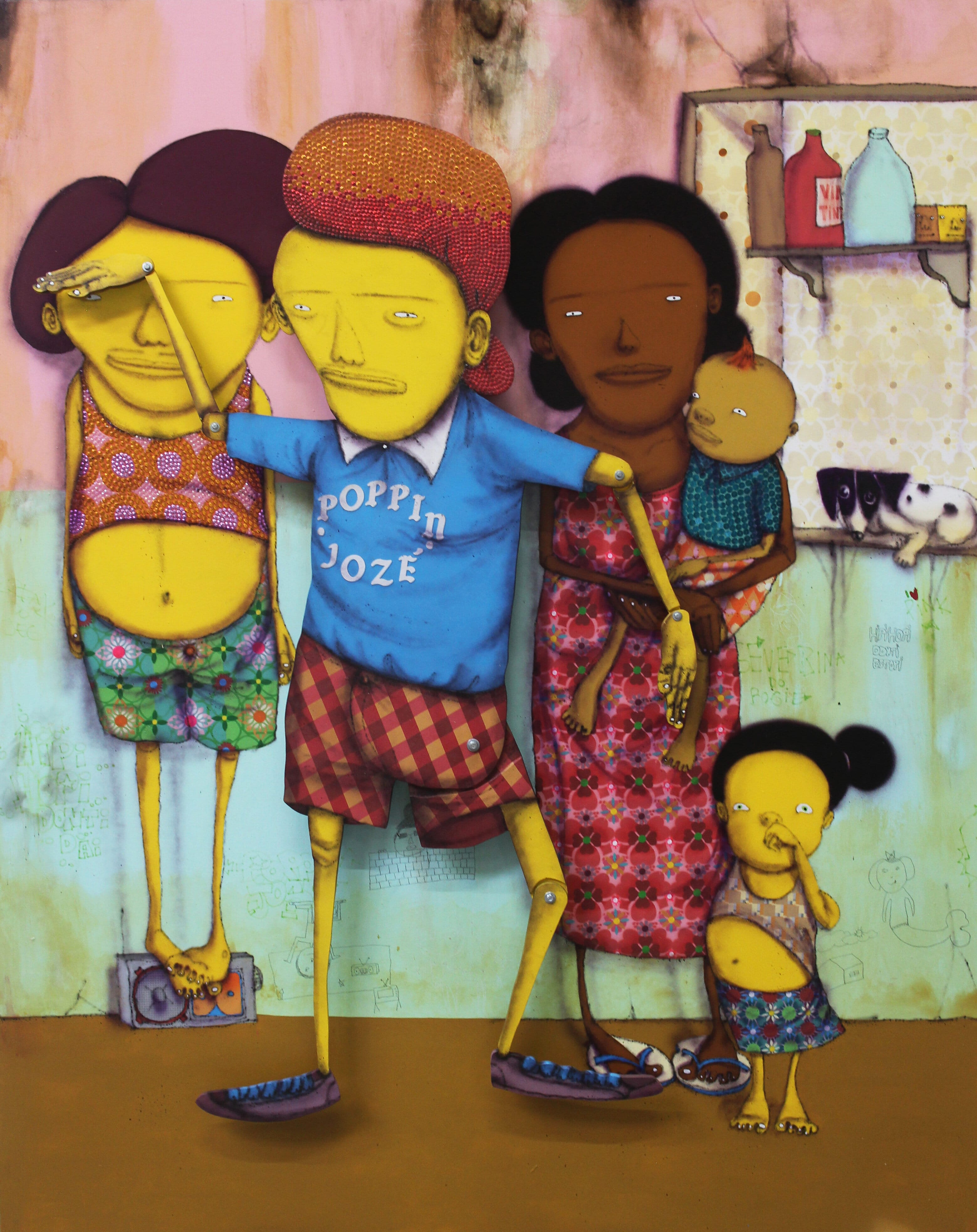OSGEMEOS O Dia da Festa de Break (The Break Party's Day), 2016 204 x 164 x 20 cm