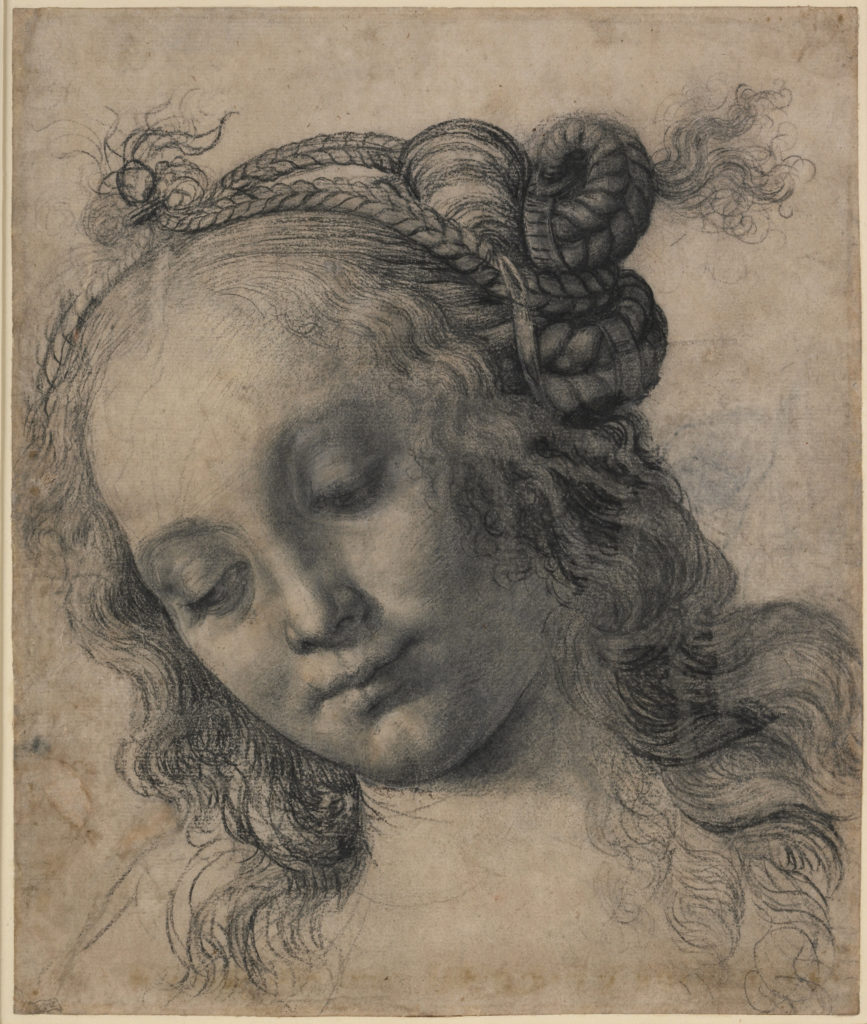 Andrea del Verrocchio Head of a Woman with Braided Hair (recto); Head of a Woman Leaning on Her Right Hand (verso), late 1470s recto: black chalk or charcoal, lead white gouache, pen and brown ink, reworked with oil charcoal on cream prepared paper verso: charcoal on white paper overall: 32.4 x 27.3 cm (12 3/4 x 10 3/4 in.) mount: 55.9 x 40.6 cm (22 x 16 in.) framed: 44.7 x 60.3 x 3.7 cm (17 5/8 x 23 3/4 x 1 7/16 in.) On loan from the Trustees of the British Museum, London © The Trustees of the British Museum. All rights reserved.