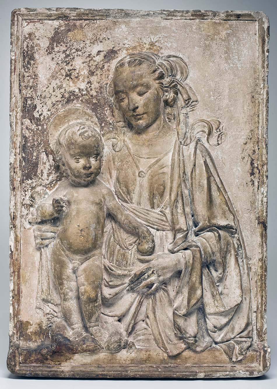 ALM289705 Madonna and Child, c.1470-80 (stucco or plaster) by Verrocchio, Andrea del (1435-88) (circle of); 84x61x10 cm; Allen Memorial Art Museum, Oberlin College, Ohio, USA; R.T. Miller, Jr. Fund; Italian,  out of copyright.