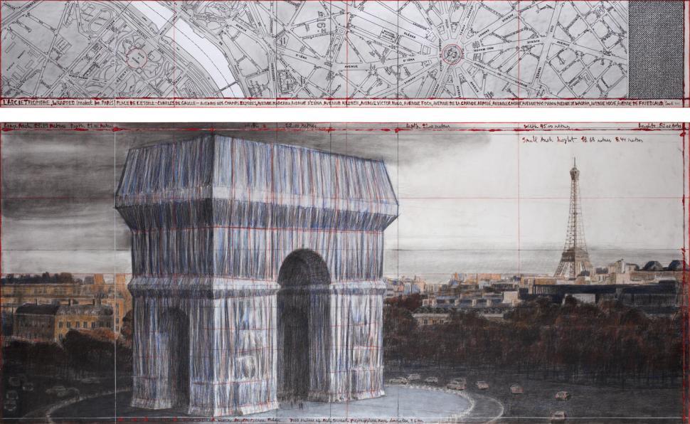 Christo L'Arc de Triomphe, Wrapped (Project for Paris) Place de l'Etoile – Charles de Gaulle Drawing 2019 in two parts Photo: André Grossmann © 2019 Christo