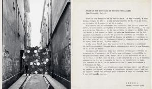 "Christo Projet du mur provisoire de tonneaux metalliques (Rue Visconti, Paris 6) Collage 1961 Two collaged photographs and a typewritten text 9 1/2 x 16"" (24 x 40.6 cm) Photo: Shunk-Kender © 1961 Christo"