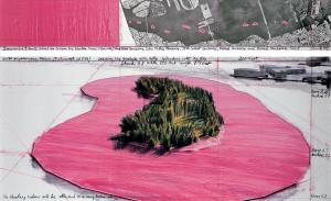 """Christo Surrounded Islands (Project for Biscayne Bay, Greater Miami, Florida) Drawing 1982 in two parts Pencil, charcoal, pastel, wax crayon, enamel paint, aerial photograph and fabric sample 15 x 96"""" and 42 x 96"""" (38 x 244 cm and 106.6 x 244 cm) Photo: Wolfgang Volz © 1982 Christo"""