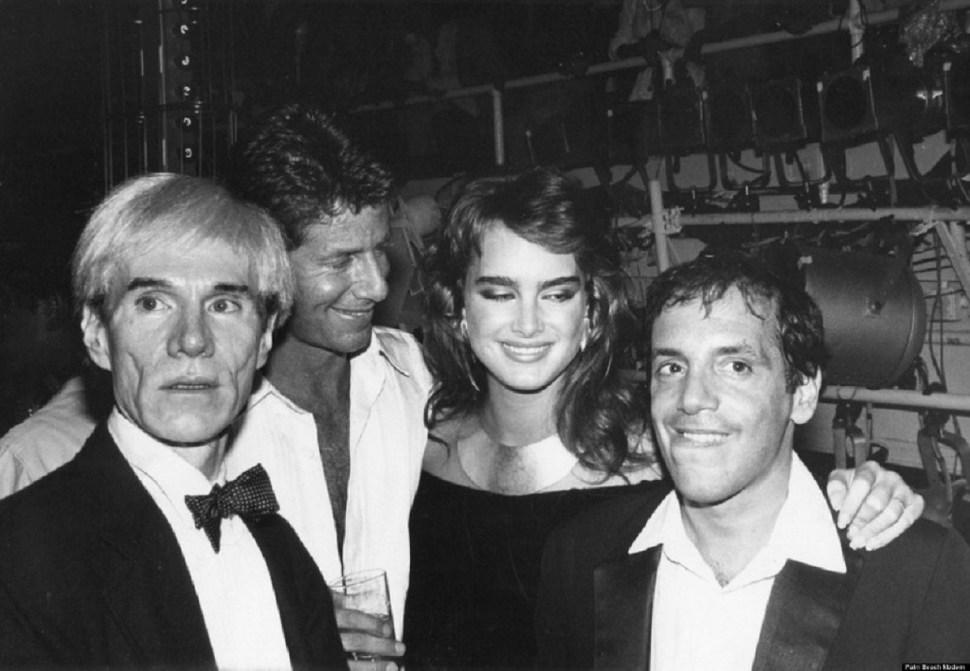 Warhol, Schrager, Brooke shield y Rubell