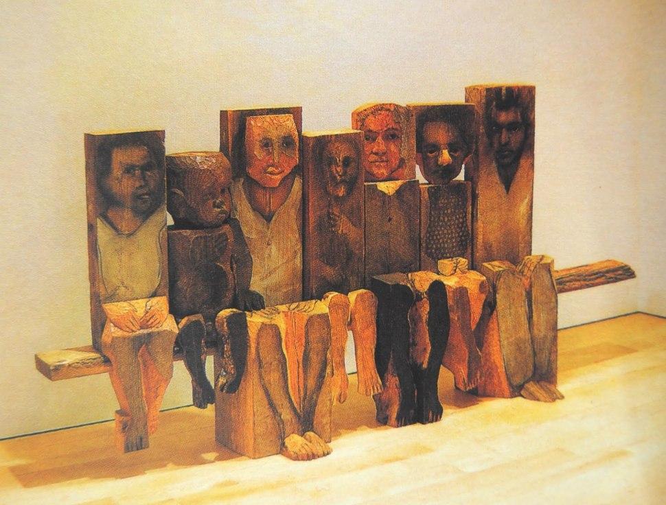 Marisol. Niños sentados en un banco 1994. Colección Museo de arte contemporáneo de Caracas.
