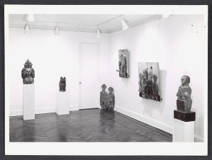 Photo Rudy Burckhardt. Installation view of the Marisol exhibition, 1957. Leo Castelli Gallery records, circa 1880-2000. Archives of American Art, Smithsonian Institution.