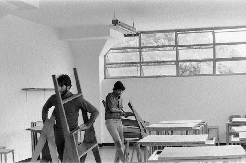 Ricardo Benaim y Sigfredo Chacón en el Instituto de Diseño Neumann. Foto Patrizia Grassi