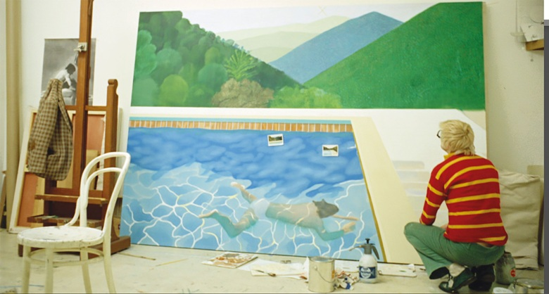 Hockney in his studio painting Portrait of an artist Pool with two figures 1972