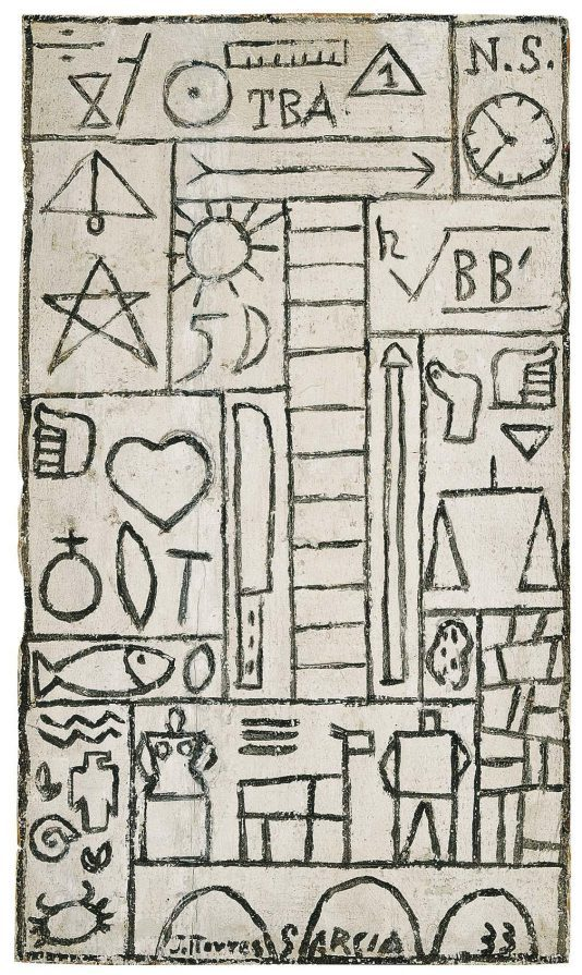 Joaquín Torres García. Dibujo constructivo en blanco y negro sobre tabla 1933. Cortesía MALBA