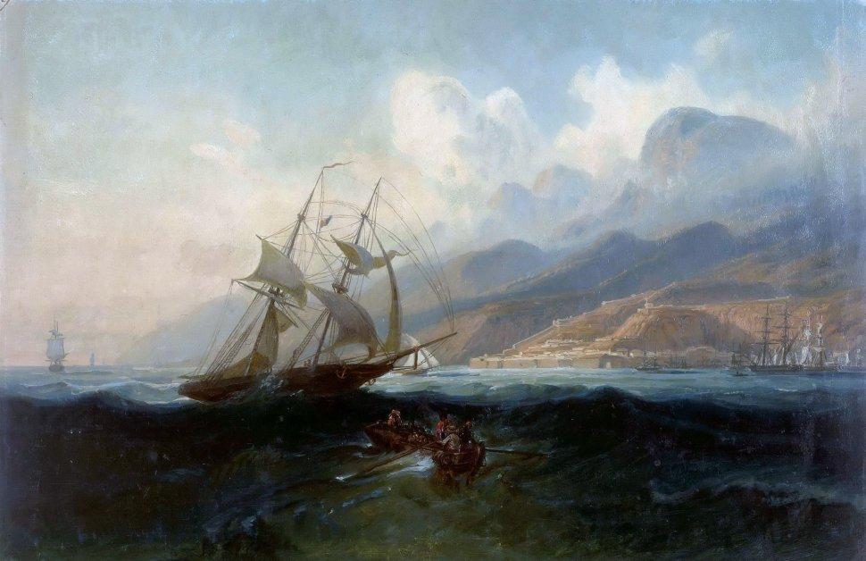Ferdinand Bellermann. Vista de la Guaira desde el mar, 1842