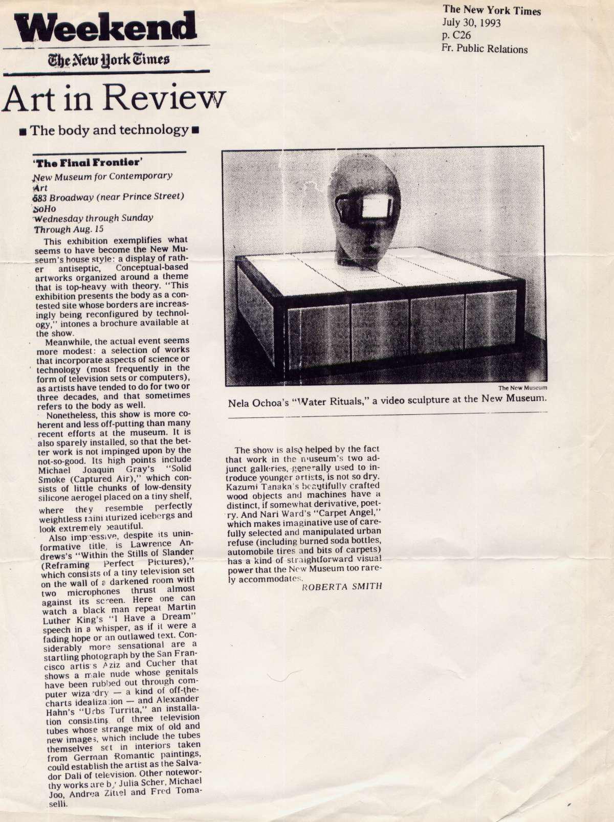 Reseña en el NY Times. Rituales de agua, 1993. Nueva York, EEUU.
